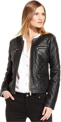 Calvin Klein Jacket, Long-Sleeve Faux-Leather Quilted