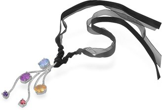 Forzieri Multi Gemstones Sterling Silver Pendant w/Lace
