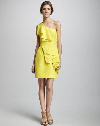 Shoshanna Sadie Ruffled One-Shoulder Dress
