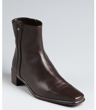 Stuart Weitzman dark brown nappa leather 'Gordon' square toe ankle boots