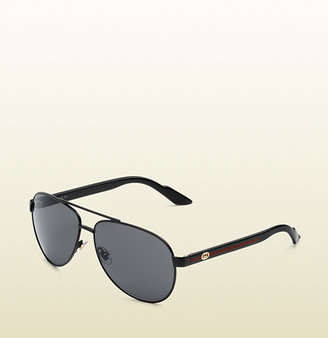 Gucci small aviator sunglasses with GG detail and web on temple.