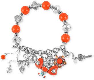 Betsey Johnson Bracelet, Rhodium-Plated Glass Crystal Bee Multi-Charm Half Stretch Bracelet