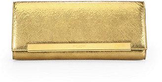 Saint Laurent Lutetia Metallic Leather Flap Clutch