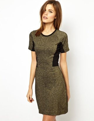 French Connection Strata Stretch Jersey Dress with Metallic Panel
