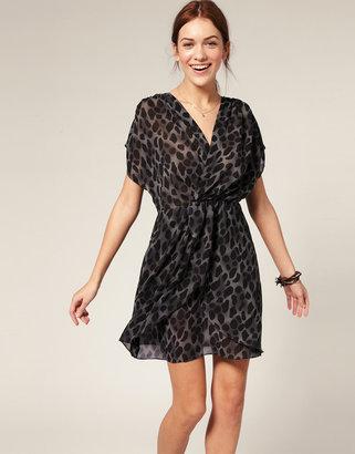 Vila Cross Over Front Animal Print Chiffon Dress