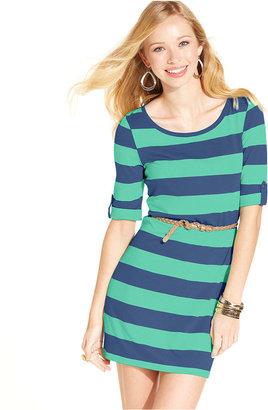 Planet Gold Juniors Dress, Short Sleeve Belted Striped