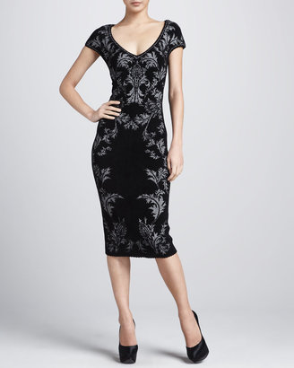 Zac Posen Bonded Jacquard Sheath Dress