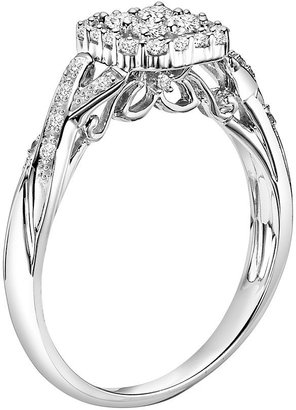 Simply Vera Vera Wang 14k White Gold 3/8-ct. T.W. Round-Cut Diamond Crisscross Ring