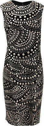 Naeem Khan Sleeveless Circle Embellished Shift Dress