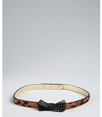 Vince Camuto brown leopard print calf hair with studded bow skinny belt