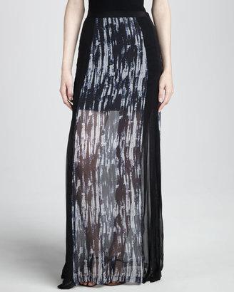 Robbi & Nikki Fog Sheer-Hem Maxi Skirt