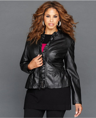 INC International Concepts Plus Size Jacket, Faux-Leather Ruffle