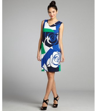 Donna Morgan blue and green rose printed jersey knit sleeveless dress
