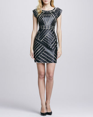 Catherine Malandrino Mesh/Faux-Leather Fitted Dress