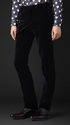 Burberry Skinny Fit Velvet Trousers