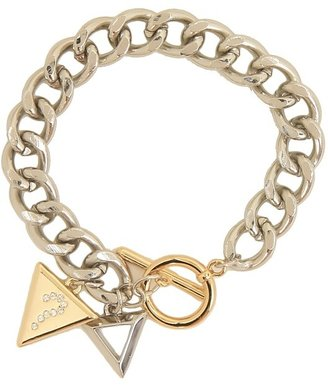 GUESS Toggle Chain Bracelet with Triangle Logo Charms (Silver/Gold) - Jewelry