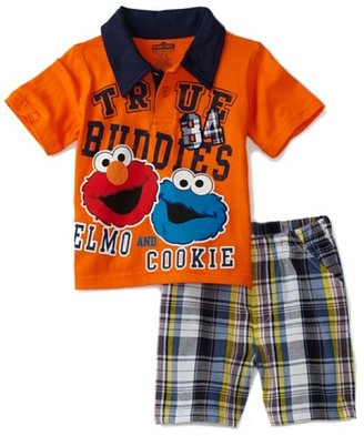 Sesame Street Baby-Boys Infant Elmo and Cookie Woven Short Set