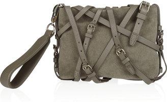 Alexander Wang Kirsten leather-strap suede clutch