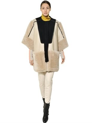 Chloé Reversible Patchwork Shearling Cape