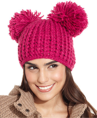 Collection XIIX Hat, Double Pom Pom Knit Hat