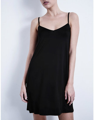 Hanro Black Deluxe Satin Nightdress, Size: S