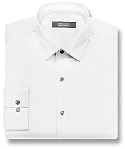 Kenneth Cole Reaction Men's White Long Sleeve Slim Fit Dress Shirt
