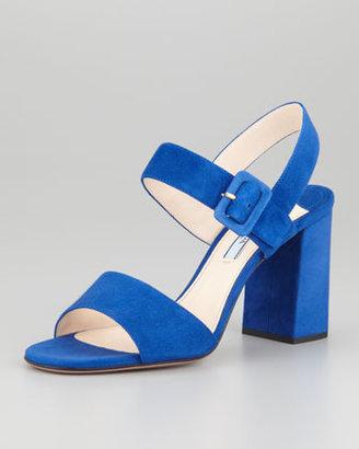 Prada Suede Block-Heel Sandal, Blue