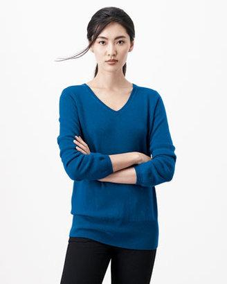 Neiman Marcus Oversized Cashmere V-Neck Sweater