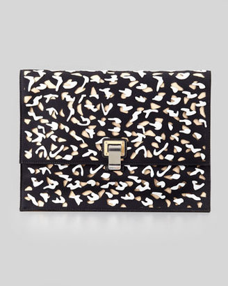 Proenza Schouler Large Cutout Neoprene Lunch Bag Clutch, Black