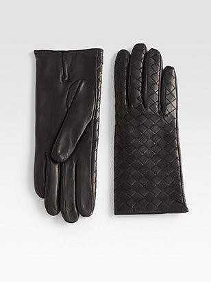 Saks Fifth Avenue Collection Nappa Woven Leather Gloves