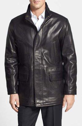 Cole Haan Lambskin Leather Car Coat