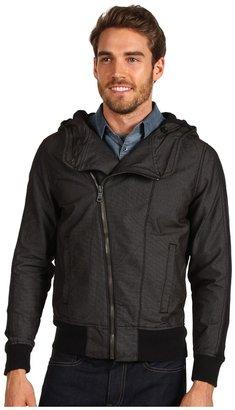 Calvin Klein Jeans Woven Hoodie Moto Jacket (Black) - Apparel