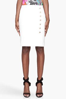 Versace Ivory gold-studded pencil Skirt