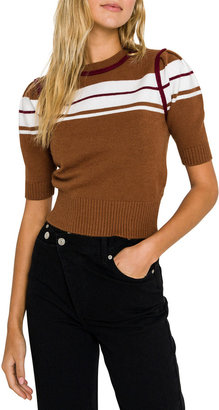 ENGLISH FACTORY Striped Puff-Sleeve Knit Top
