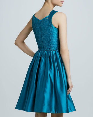 Theia Lace-Bodice Cocktail Dress