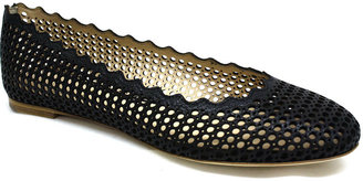 """Chloé CH22210"""" Black Perforated Skimmer Ballet Shoe"""