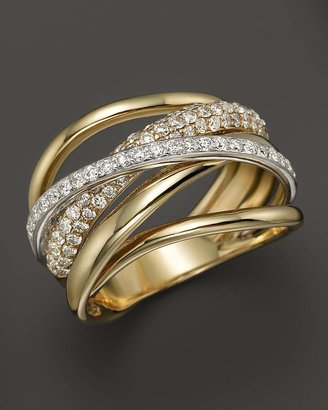 Diamond Pavé Crossover Band in 14K White and Yellow Gold, .70 ct. t.w. - 100% Exclusive $4,600 thestylecure.com