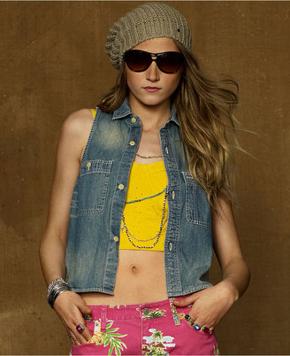 Denim & Supply Ralph Lauren Sleeveless Cropped Chambray Shirt, Beach Wash