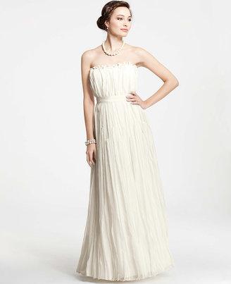 Ann Taylor Silk Georgette Rosette Strapless Wedding Dress