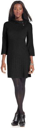 Style&Co. Dress, Three-Quarter-Sleeve Ribbed Sweater Dress