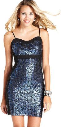 Ruby Rox Juniors Dress, Spaghetti-Strap Sequin Bodycon Mini