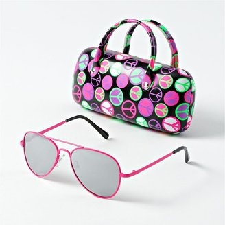So aviator sunglasses and peace case set - girls