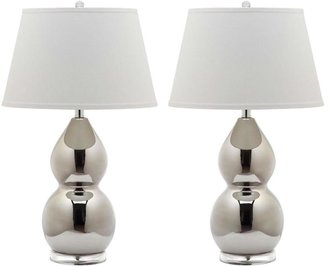 Safavieh Jill 25.5 in. Silver Double-Gourd Ceramic Lamp (Set of 2)