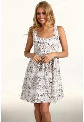 Jessica Simpson Racerback Tank Dress w/ Pleated Ruffle Front (Smoked Pearl) - Apparel