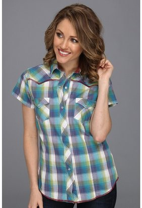 Roper 8502 Blue Feather Plaid (Blue) - Apparel