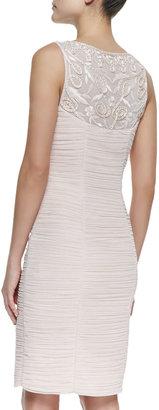 Sue Wong Sleeveless Beaded Center Cocktail Dress, Blush