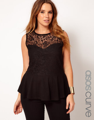 Asos Exclusive Top With Lace Bodice Peplum
