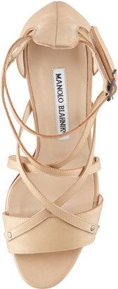 Manolo Blahnik Pugliamo Strappy Leather Sandal, Beige