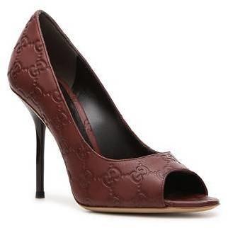 Gucci Embossed Leather Peep Toe Pump
