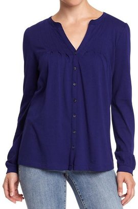 Old Navy Women's Pintucked Button-Front Jersey Tops